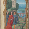 Full-page miniature of lovers walking in a garden, in April.