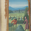Full-page miniature of haymaking, in June.