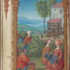 Full-page miniature of gathering grapes, with treading of grapes in background, in September.