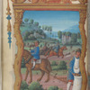 Full-page miniature of sowing seed; riding to the hounds in the background, in October.