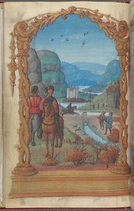 Full-page miniature of hunting, with wood-cutting in background, in November.