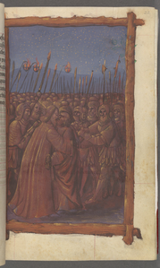 Full-page miniature of the betrayal of Christ at Gethsemane.