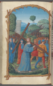 Full-page miniature of Christ bearing the Cross; a procession of figures with Mount Cavalry in the far background and Judas hanging on a tree in the middle background.