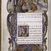Miniature of Nativity; full border with human and grotesque figures; initial with human figure.  Rustic capitals, rubric.