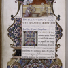 Miniature of Birth of John the Baptist.  Border design, initial, rubrics. rustic capitals.