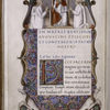 "Miniature of St. Augustine, ""patris nostri,"" shown enthroned with a book on his knee and canons in white habits around him. Border design, initial, rustic capitals, rubric"