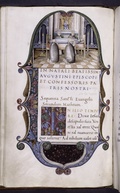 Miniature of the death of Augustine with canons kneeling around his body.  Border design, initial, rubric, rustic capitals.
