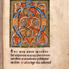 Opening of main text, with large illuminated initial, rubric,  and 1-line red initial.  Note of ownership in upper margin