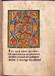 Opening of main text, with large illuminated initial, rubric,  and 1-line red initial.  Note of ownership in upper margin.