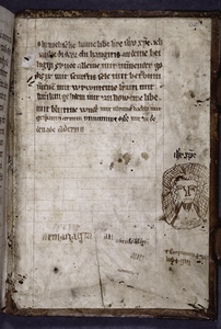 Prayer written in Rhenish dialect in later (14th century?) hand; pen drawing of Christ.