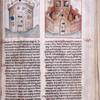 Page of text with two miniatures, rubrics, placemarkers.  Right miniature includes coats of arms of archbishoprics of Cologne and Mayence.