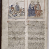 Explicit of text, 2 miniatures, rubrics, initials, placemarkers. Hand B