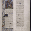 Opening of prologue to Boethius, with miniature of the Wheel of Fortune.  Hand A.