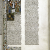 Opening of text, Hand B.  Miniature of Pope flanked by clergy, nobility and the bourgeosie