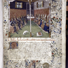 Opening of prologue describing translation.  Large miniature of emperors and popes, seated facing one another; initial, rubric, border design.  Coat of arms (partially defaced) of Jacques d'Armagnac.