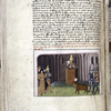 Text and miniature of Mohammed preaching.