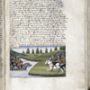 Text and rubric, with miniature of Philip Augustus beginning the battle of Bouvines.