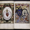 Two full-page miniatures, one with coat of arms, the other showing the sacred heart.