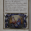Explicit of text with miniature of the Trinity with border of palm fronds, fruits etc.