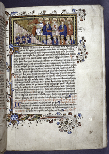 Miniature of three Souls as pilgrims, seperated from the heavenly tribunal by large curtain; court as nimbed saints and Virgin; Guardian Angel with chalice; trumpeter.  Border design, initials, rubrics, placemarkers. Quire signature in lower right corner.