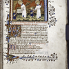 Opening of Book II.  Miniature of Guardian Angel giving burden to Soul; Soul led to purgatory by the Guardian Angel.  Border design, large and small initials, rubrics, placemarkers.