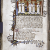 Miniature of Soul raised to Heaven, greeted by singing Angels.  Border design, initial, rubrics, placemarkers.