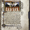 Miniature of Soul shown souls burning in Purgatory, comforted by Prayer.  Initial, border design, rubrics and placemarkers.