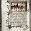 Miniature of Soul shown souls in Purgatory, with their guardian angels.  Border design, rubric, initial, placemarkers.