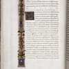 Page of text with lateral border design, initials, rubric.