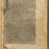 Opening of text, in one column, large initial with extensions far into border. Linefiller, placemarkers, fol. 1r