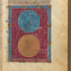 Large miniature of Heaven and Earth, with initials, linefiller, placemarkers fol. 2r