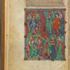 Large miniature of angels, with text, initials, linefiller. fol. 2v