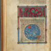 Miniature of flora on the earth and stars in the heavens, with text, initials, placemarkers, linefiller fol. 4v