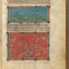 Two miniatures, of birds, fish and fauna. With text, initials and linefillers fol. 5r