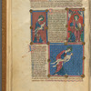 Three small miniatures of God creating Man, with text, initials, linefillers, placemarkers fol. 5v