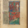 Two miniatures: God and Adam in the Garden; God creating Eve from Adam's rib. With text, initials, linefiller, placemarkers. f. 6r