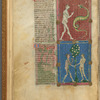 Two miniatures: Eve and the Serpent and Adam and Eve eating the Apple. With text, initials, linefillers, placemarkers. f. 6v