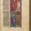 Two miniatures: God making clothing for Adam and Eve, and the Expulsion from the Garden. With text, initials, linefiller, placemarkers fol. 8r