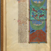 Two miniatures: the Flood, and the Ark landing on the mountain. With text, initials, linefiller, placemarker, fol. 11v