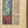 Two miniatures: the Tower of Babel, and God and Abraham. With text, initials, linefillers, placemarkers fol. 14r