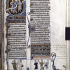Large initial Q of Psalm 51, showing scenes from 2 Samuel 1.  Scrolls are missing their text.  Illuminated titles, initials, linefillers, rubric, miniatures at bottom of page (with text in scrolls)