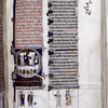 Large unfinished initial D of Psalm 101, showing scenes from 2 Samuel 19.  Illuminated title, initials, linefillers, rubric, miniatures at bottom of page.  Scrolls missing text, ground lines lacking.