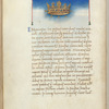 Miniature of the Crown, with text and 1-line blue initial