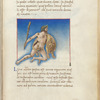 Miniature of Engonasin or Hercules, in flight, nude and holding club and lion's skin, with text and 1-line blue initial