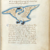 Miniature of Holor, or the Swan, with text and 1-line blue initial