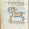Miniature of Sagittarius, with text and 1-line blue initial