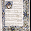 Opening of text, with historiated initial, white vinestem border with cherubs and portraits, coat of arms (unidentified), Roman capitals.
