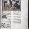 Opening of main text, miniature of Arthur and his tutor at the court of the Duke of Bretaigne, large initial, border design, placemarkers, rubrics, linefillers.