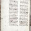 Page of text with small initial, linefillers, placemarkers, rubric and catchword.