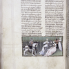 Page of text with miniature of Proserpine, Queen of the Fairies, tempting Arthur.